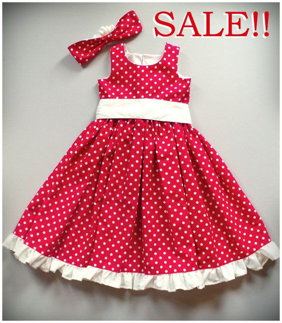 Sale Red White Polka Dot Girls Dress By Sewcreationsboutique