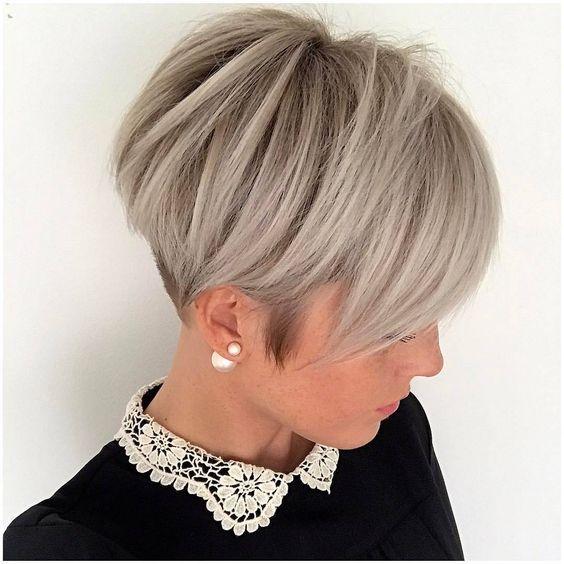 Long Straight Gray Two-Tone Pixie Cut with Elegant Undercut   hey ...