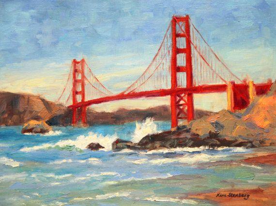 Golden Gate Bridge Baker Beach San Francisco California Original Painting By Kimstenbergfineart 200 00