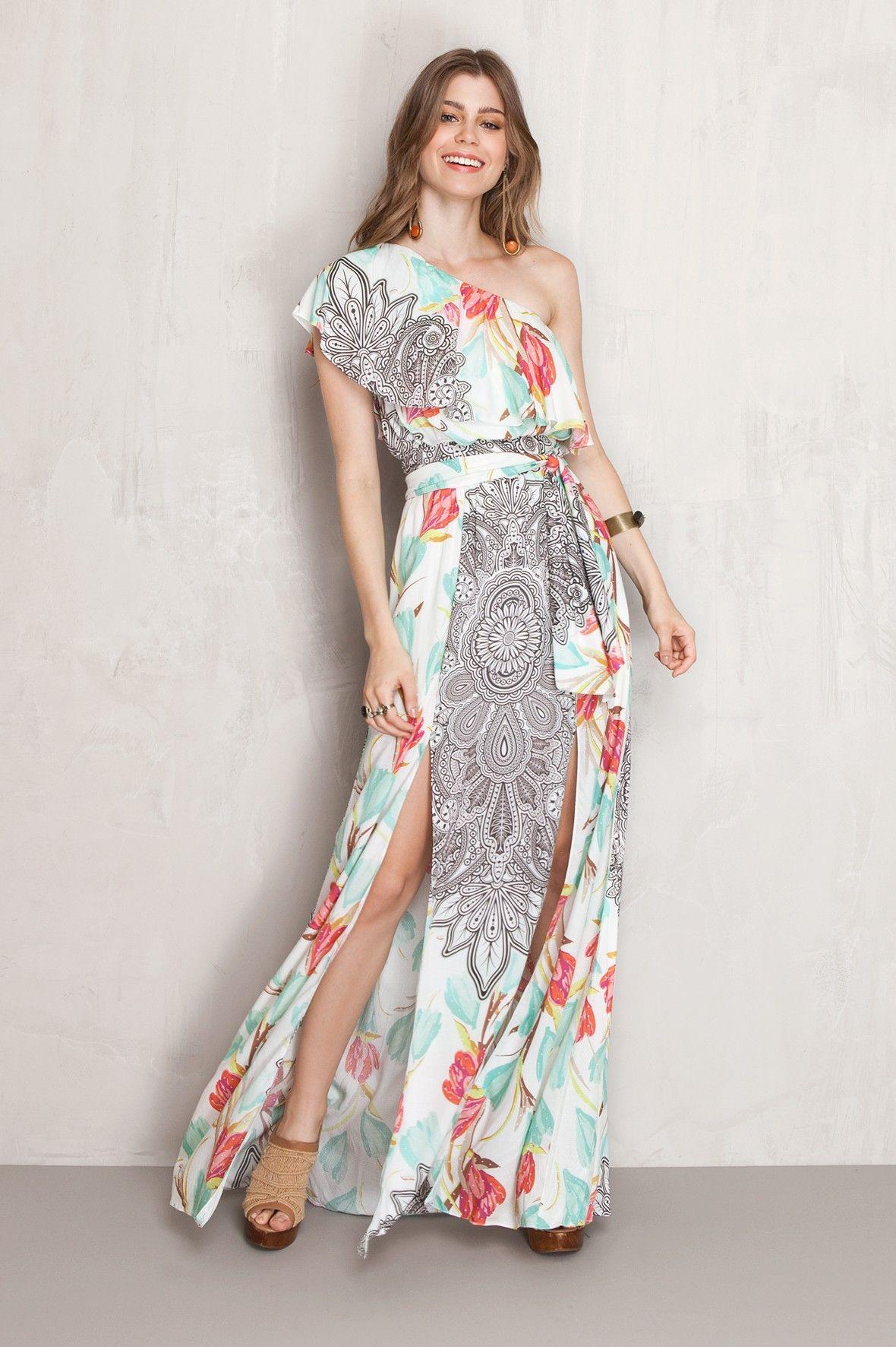 381a920a5c vestido longo estampado amarante