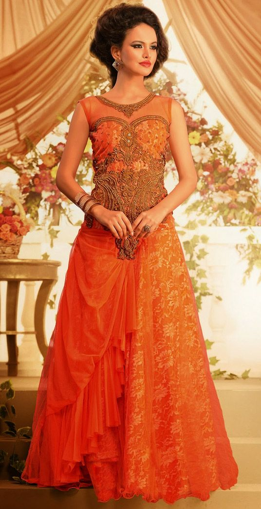 fcd47248a51 USD 104.32 Salmon Net Designer Party Wear Gown 44253