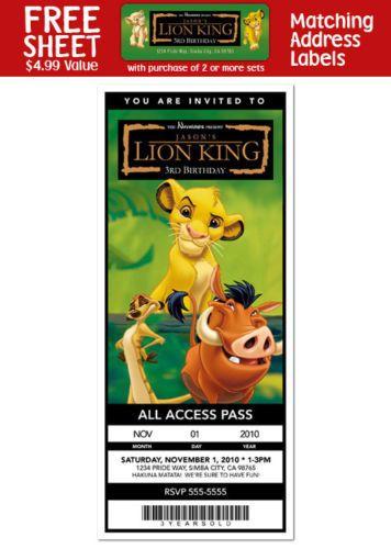 6LIONKINGMovieBirthdayPartyTICKETINVITATIONS lion king