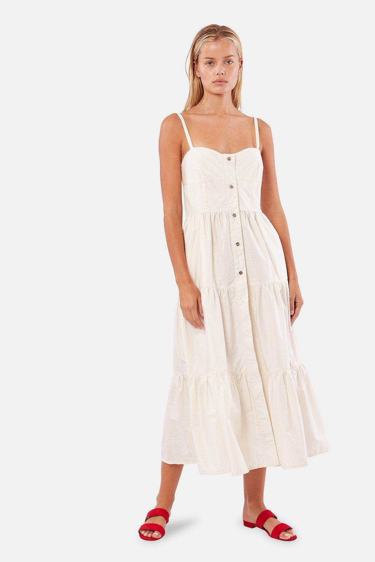 Button Up Tiered Dress