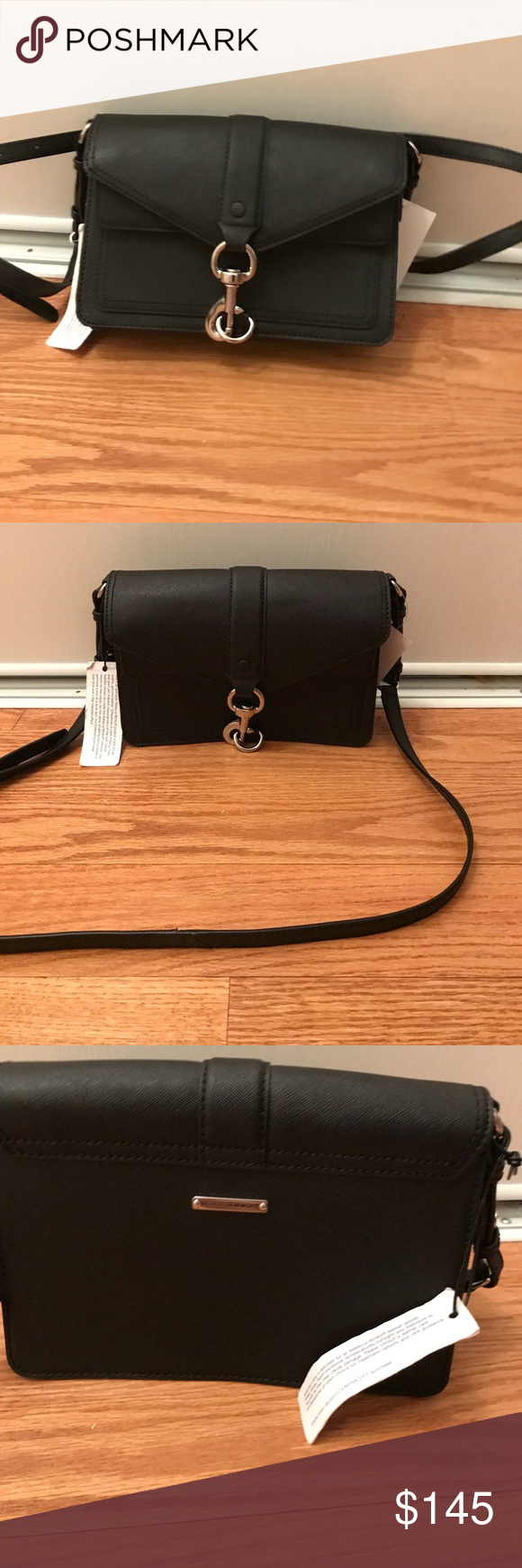 """RebeccaMinkoff MiniMoto Saffiano Leather Crossbody Rebecca Minkoff Hudson saffiano leather bag Silvertone hardware; adjustable shoulder strap, 20"""" drop-Flat top with lobster clasp closure-flap pocket with magnetic closure-dual compartments-one slip pocket. 5.8""""H x 8.8""""W x 2.8""""D Rebecca Minkoff Bags Crossbody Bags"""