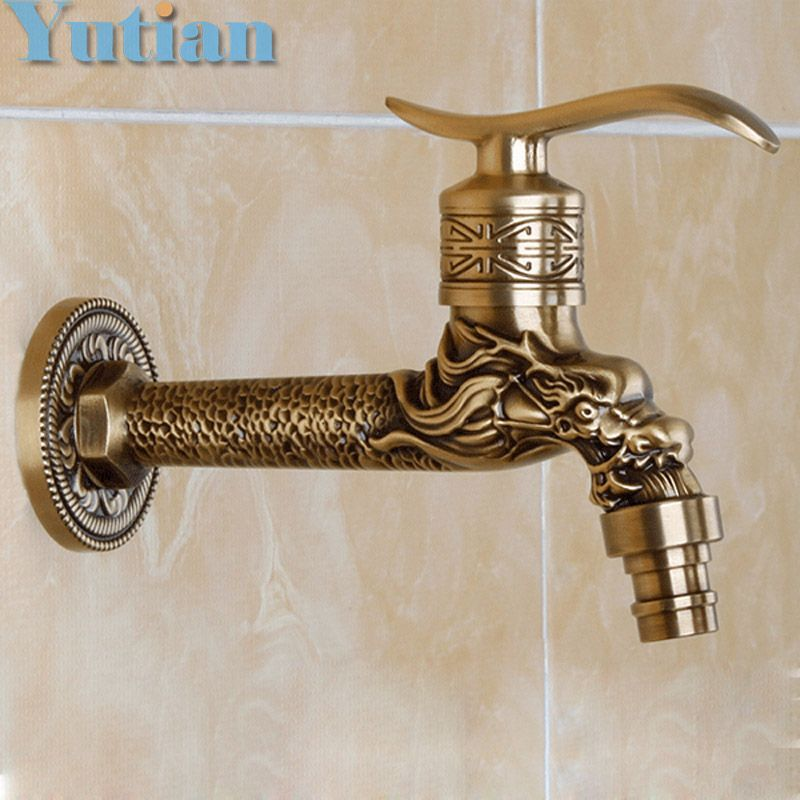 Antique Bronze Dragon Carved Tap Animal Shape Faucet Garden ...