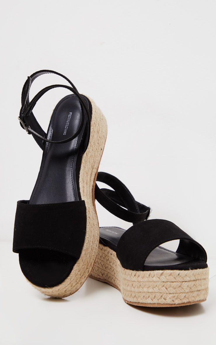 Black Espadrille Flatform Sandal