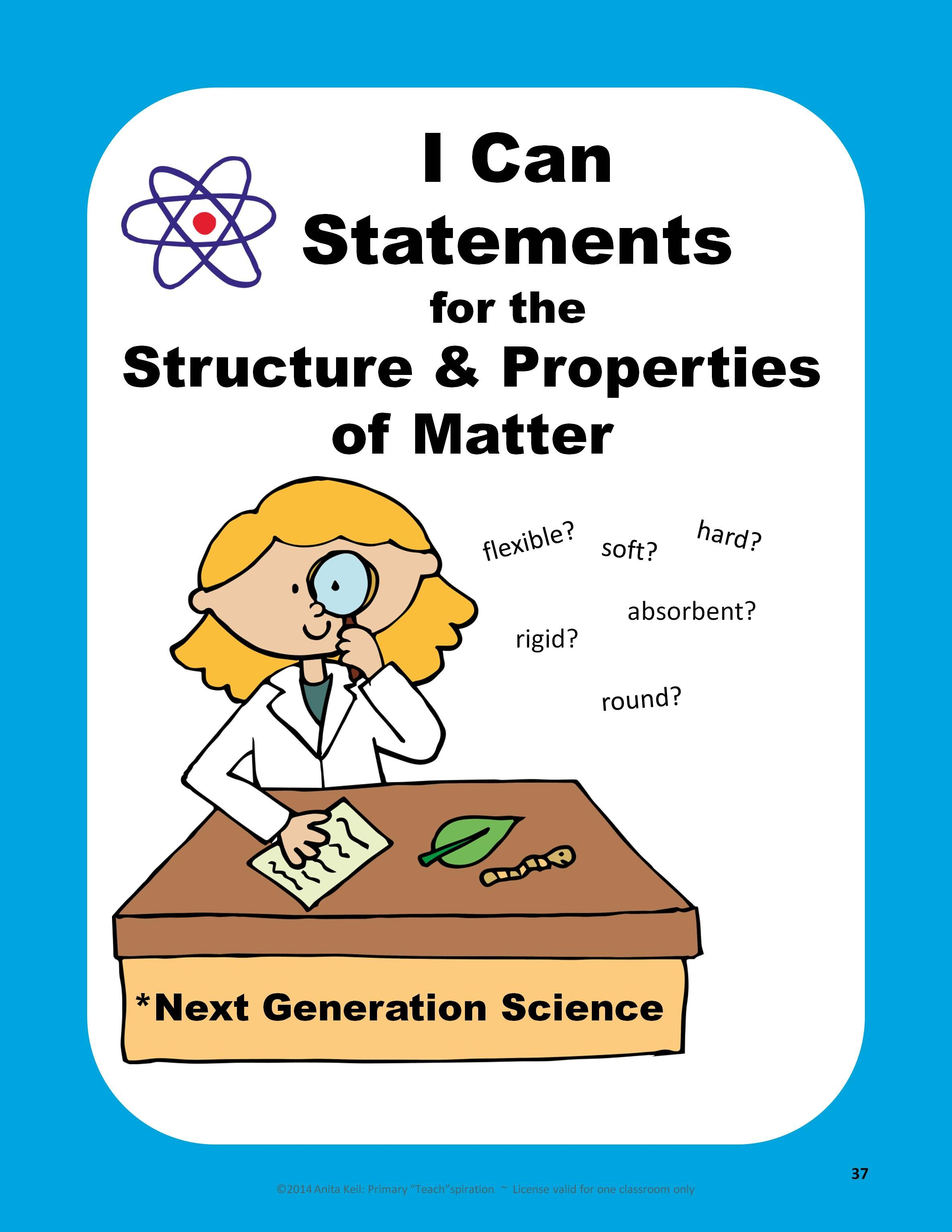Free Matter Next Generation Science Standards I Can
