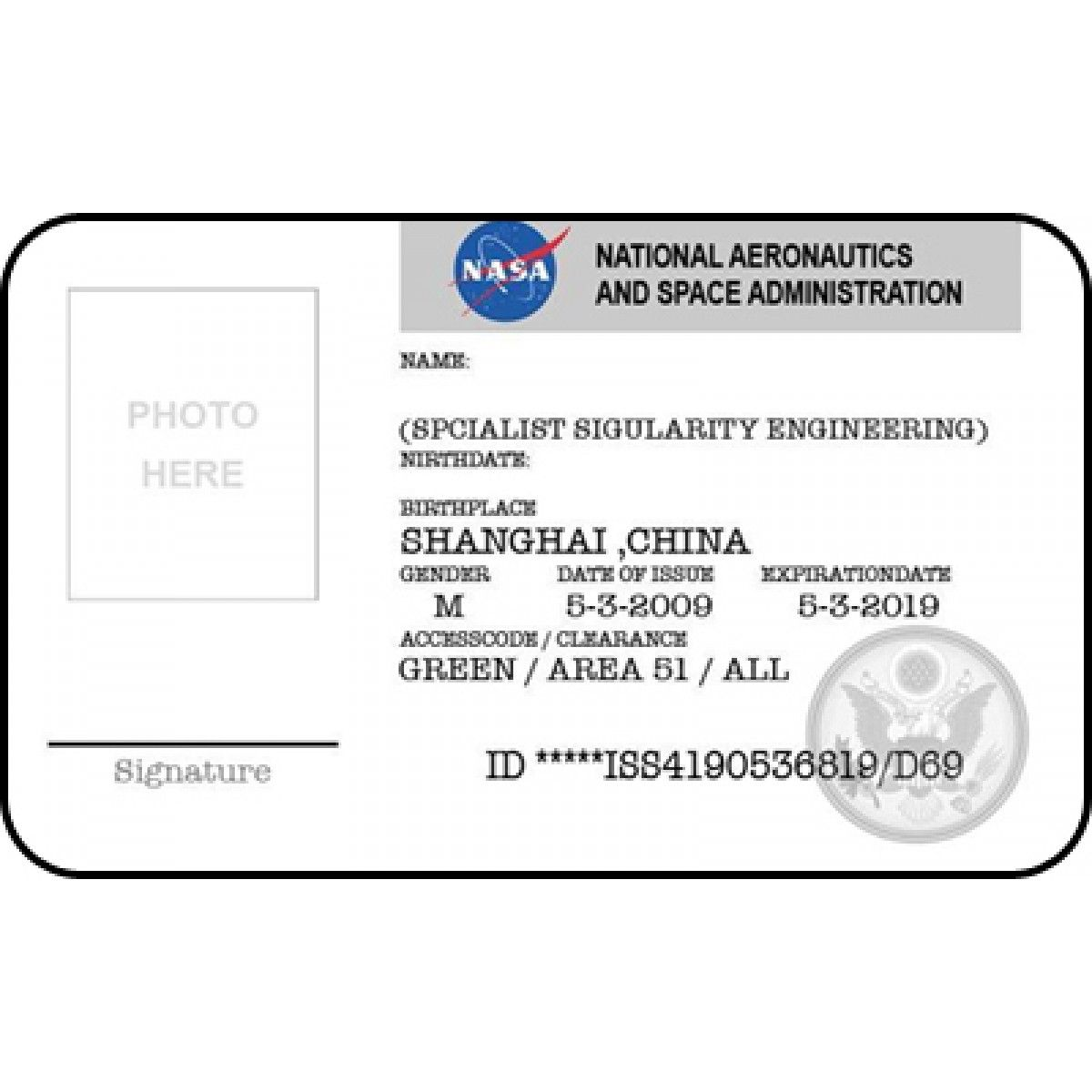 Nasa Id Card Badge National Aeronautics Space Administration  St
