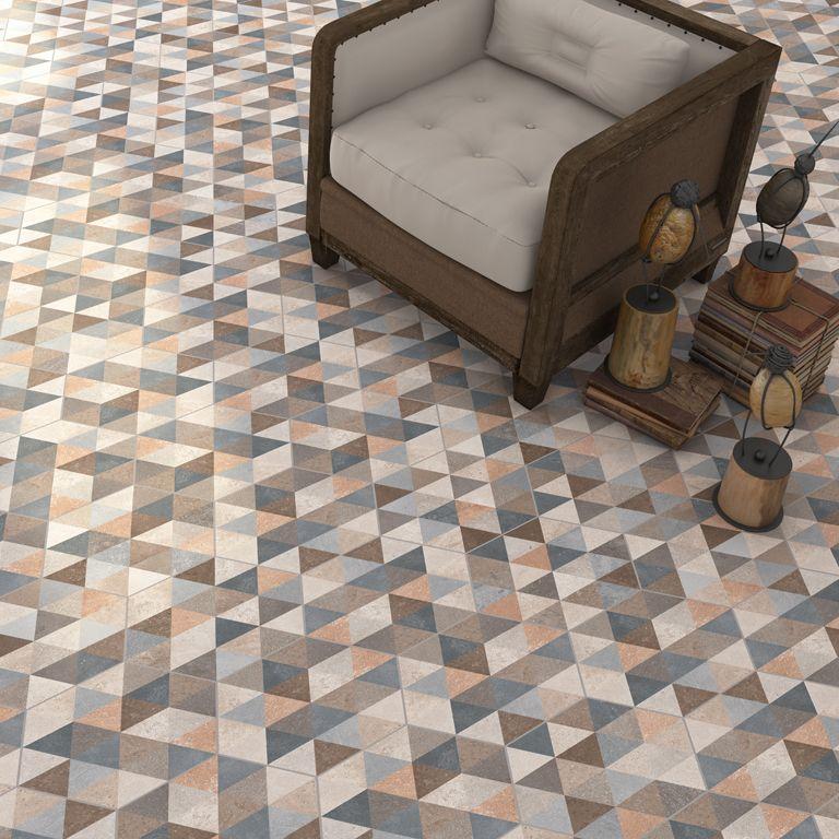 Hex gono fingal multicolor 23x26 6cm pavimento for Pavimento ceramico hexagonal