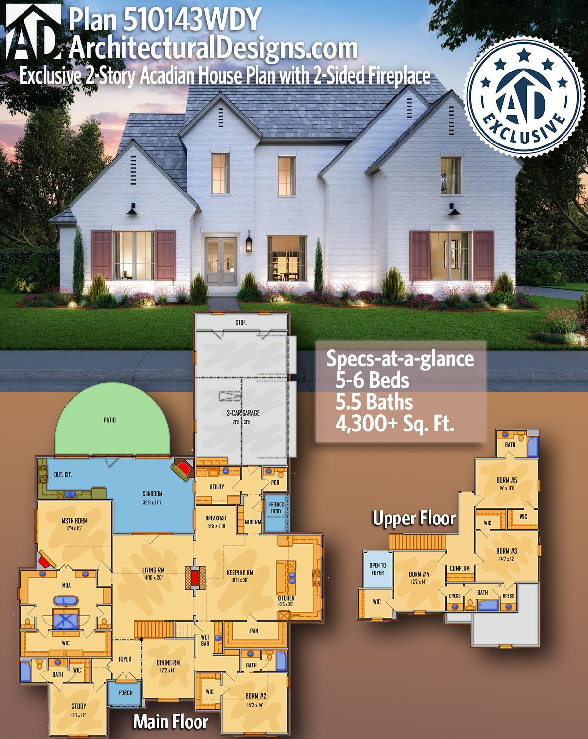 Plan 510143wdy Exclusive 2 Story Acadian House Plan With 2 Sided Fireplace In 2020 Acadian House Plans House Plans Southern House Plan