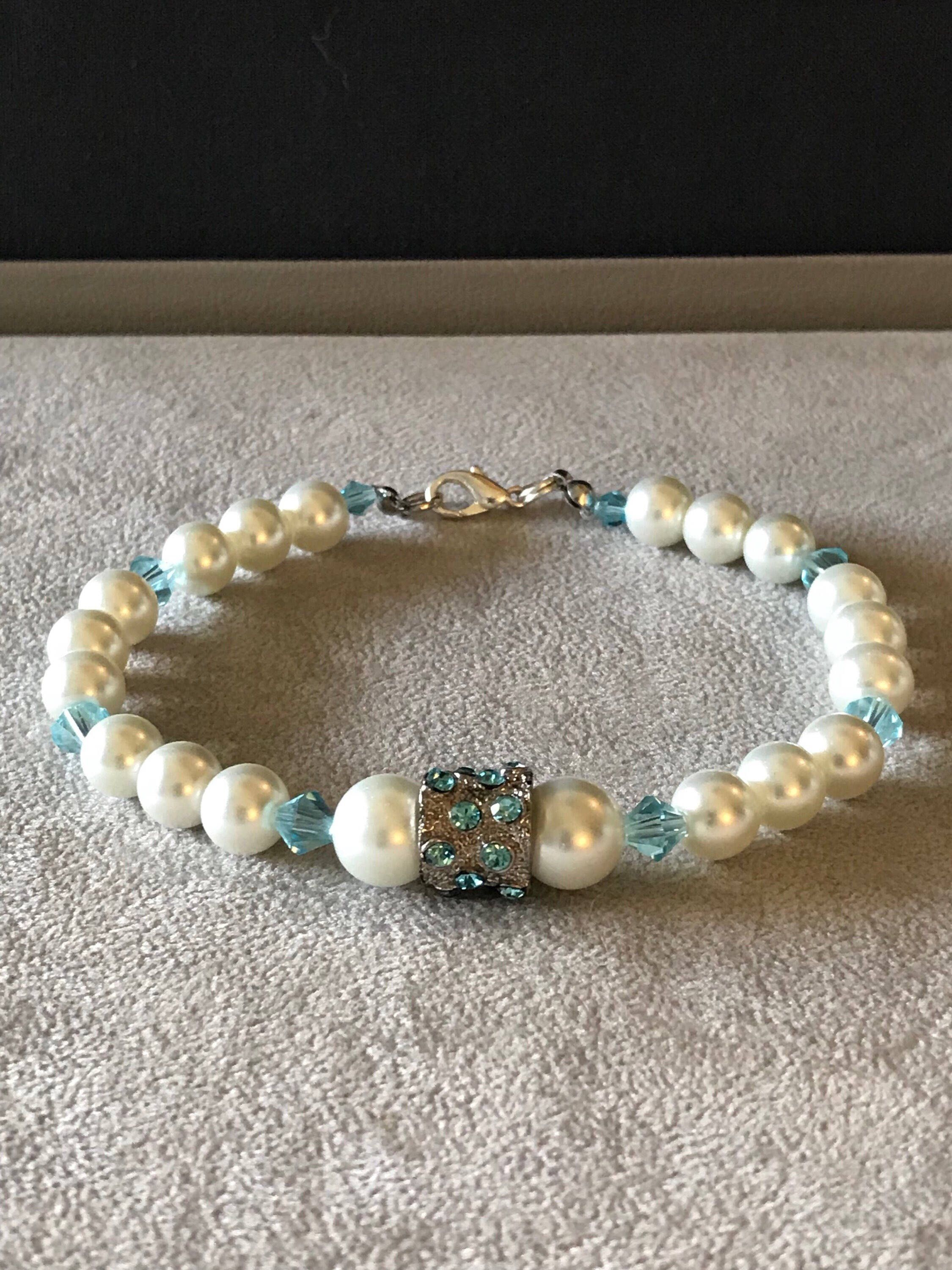 Excited to share the latest addition to my #etsy shop: Pearl and Blue Crystal Bridal Ankle Bracelet