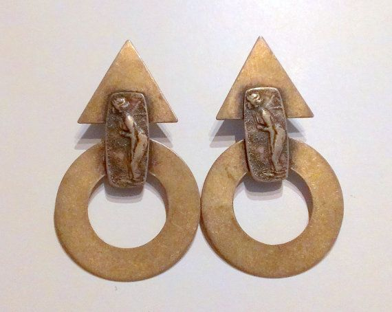 Vintage Art Deco Style Copper Earrings Signed by TrendyTreasures1, $30.00 #Vintage #EcoChic #TeamLove