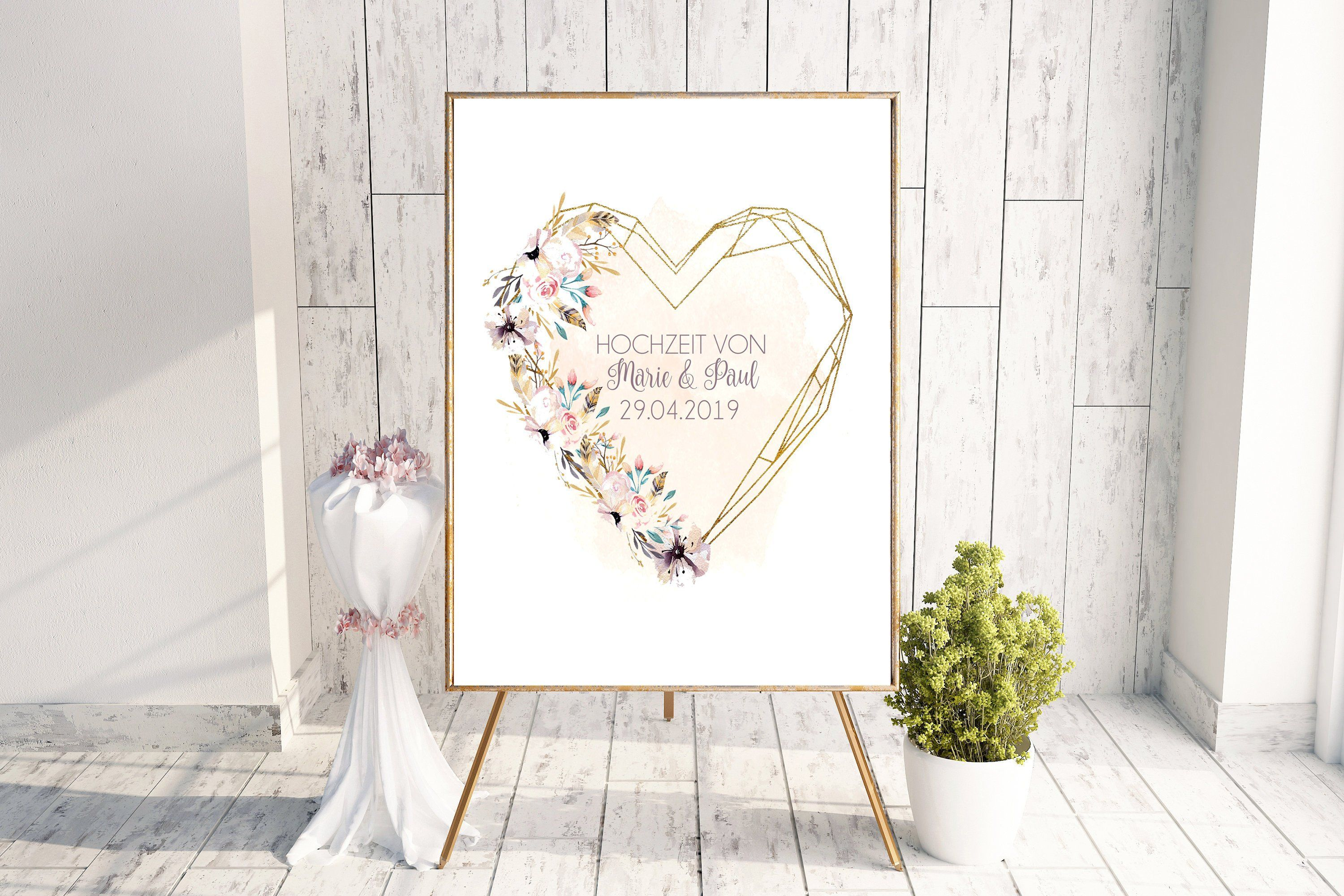 Geschenk Für Standesamt Poster Wedding Personalised The Wedding With Name