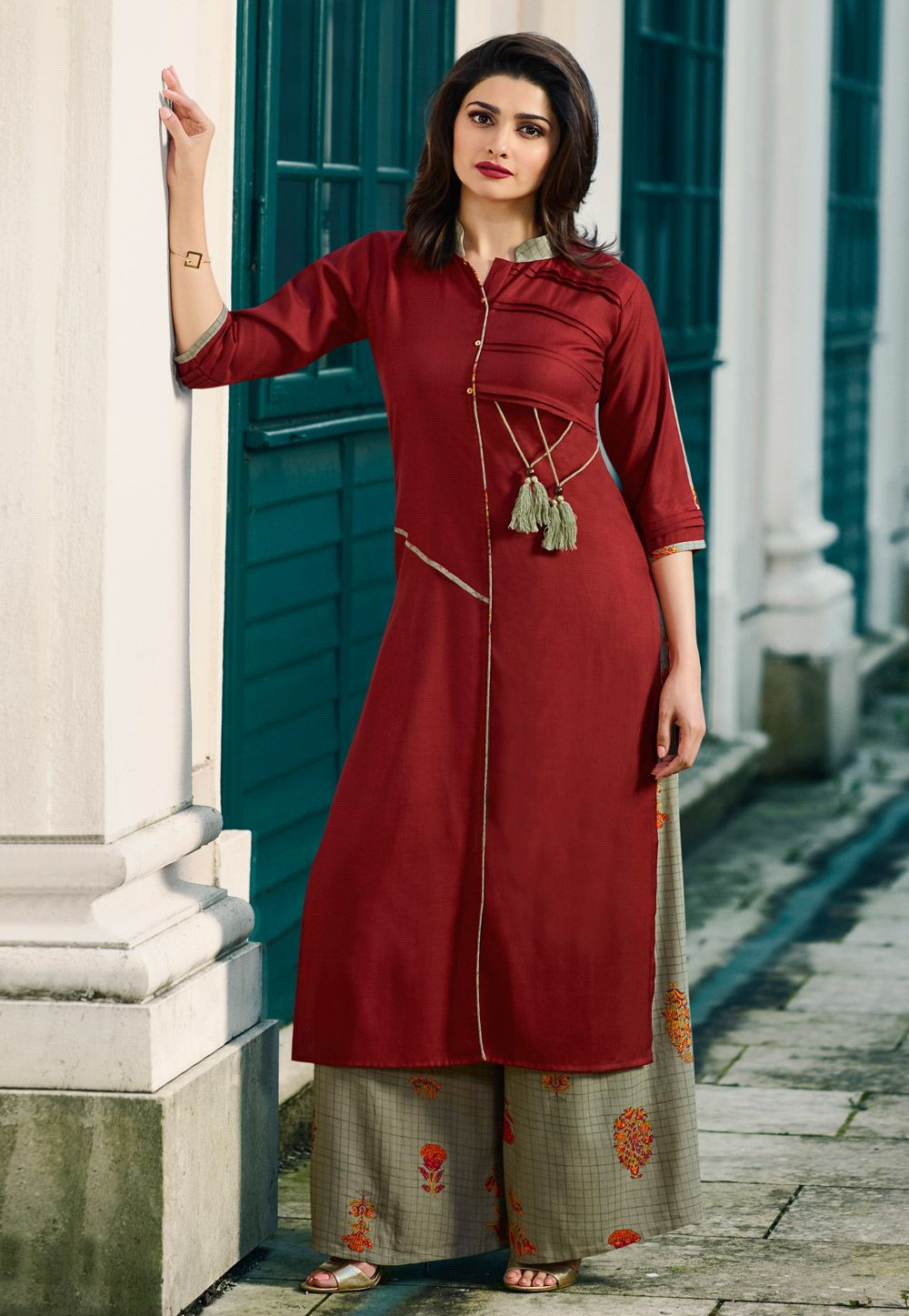 85c865728e Buy Prachi Desai Maroon Rayon Readymade Pakistani Style Suit 161027 online  at lowest price from huge collection of salwar kameez at  Indianclothstore.com.
