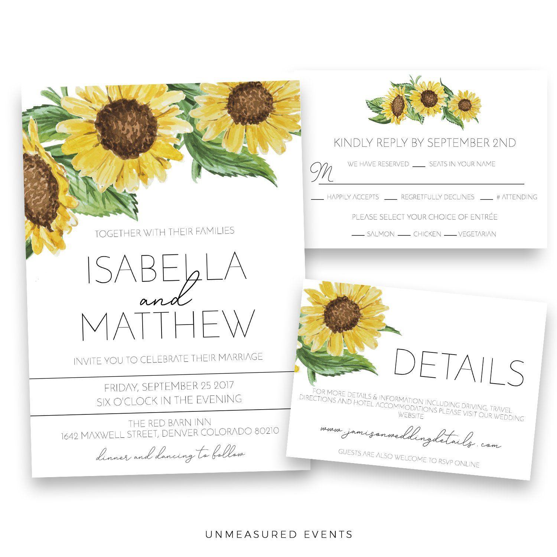 Emma Rustic Sunflower Wedding Invitation Template Suite Sunflower Wedding Invitation Template Sunflower Wedding Invitations Modern Wedding Invitation Wording