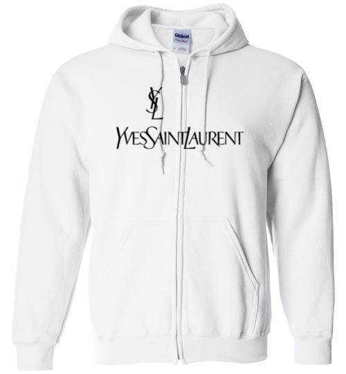 a0a3dbb1fe4 cool YSL Yves Saint Laurent Logo Zip Hoodie