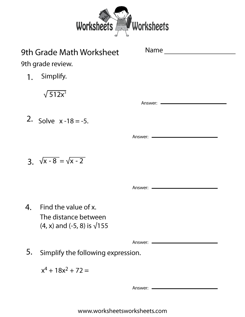 Ninth Grade Math Practice Worksheet Printable | Teaching | Math ...