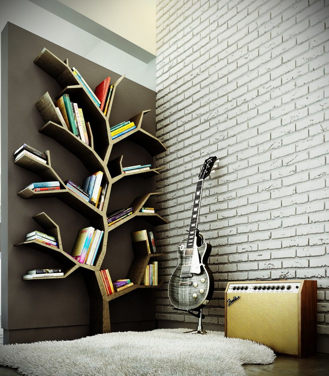 Wooden shelves tree tree branch bookshelf diy tree shaped shelf - Inspirations Ideas Tree Bookcase Design In The Room Where Playing Guitar With Natural Color