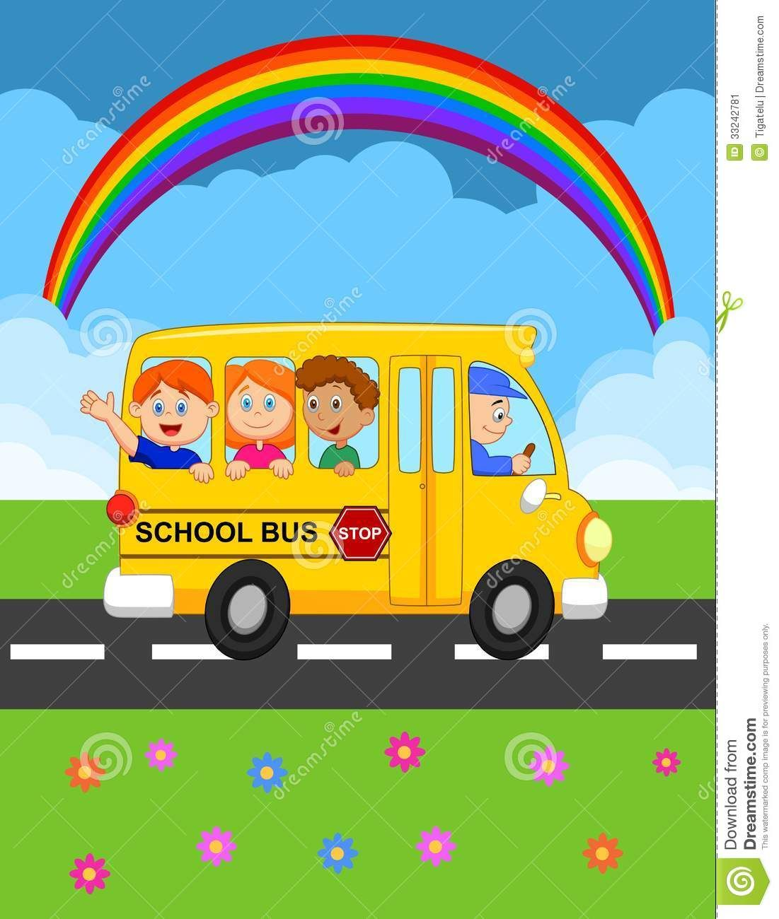 Thumbs Dreamstime Com Z Cartoon School Bus Happy Children