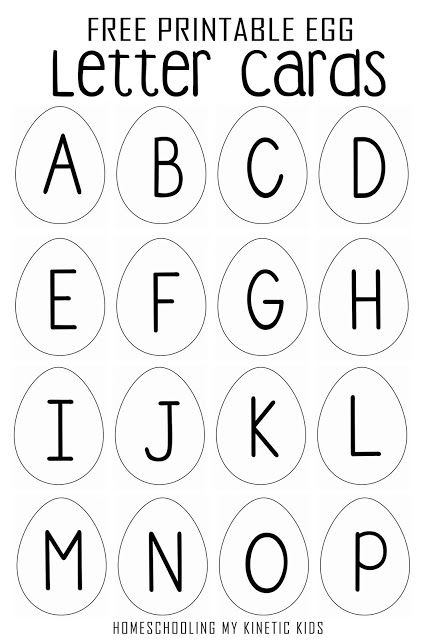Egg shaped letter cards for spelling practice, matching
