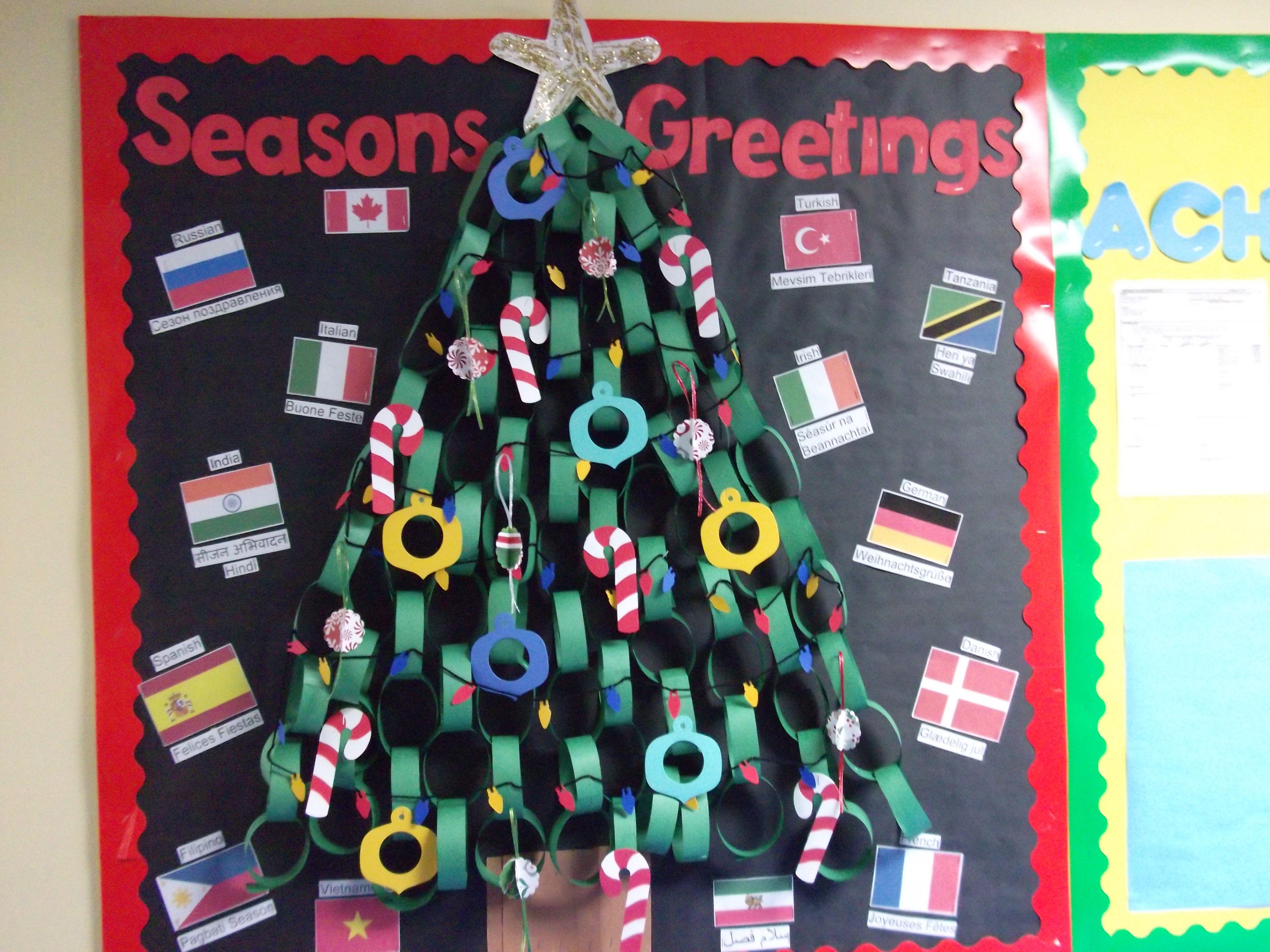 Paper Chain Christmas Tree Bulletin Board Christmas School Crafts Christmas School Bulletin Board Tree