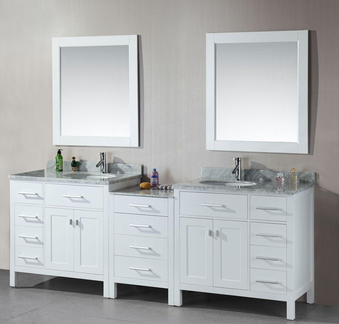 Avola 92 Inch Double Sink Bathroom Vanity White Finish Cheap
