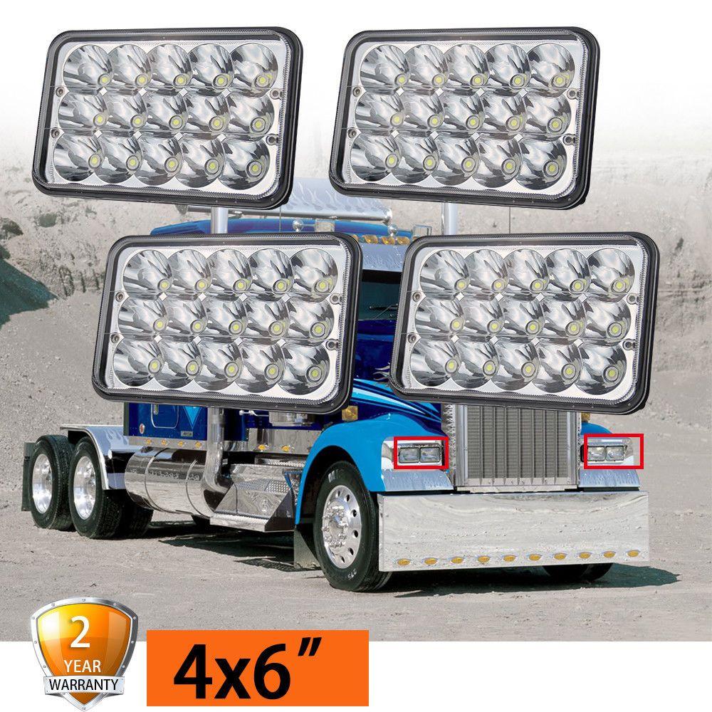 4pcs 4x6 LED Headlights for Kenworth T400 T600 T800 W900L