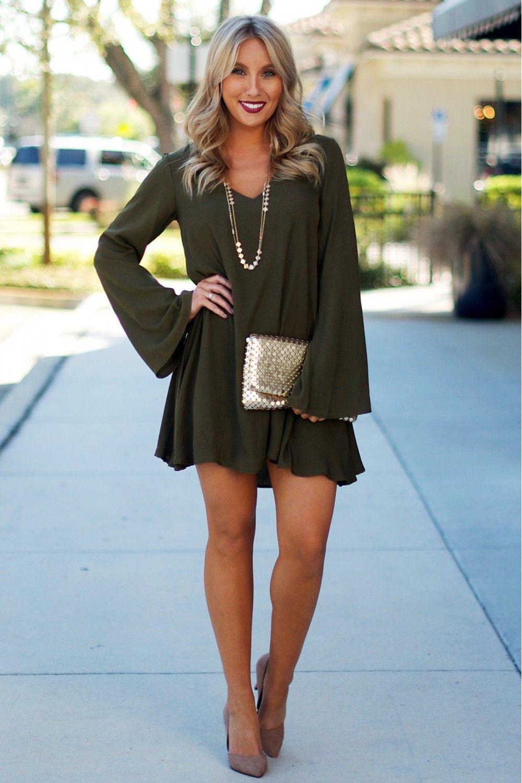 Let It Flow Tunic Dress Olive