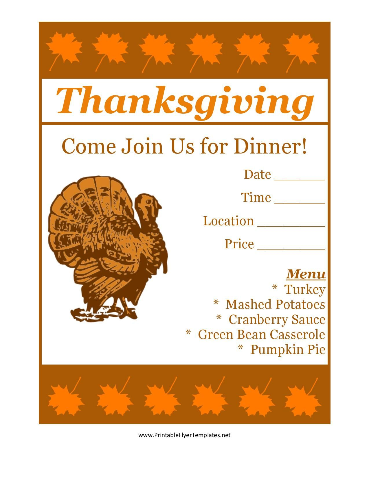 free printable thanksgiving flyer invintation template holiday s