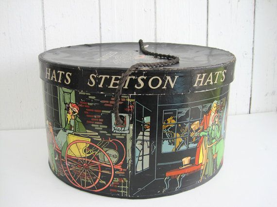 edd6dc7c8ee5f Vintage Stetson Hat Box Antique Hatbox Oval Lithograph Dickens Style ...