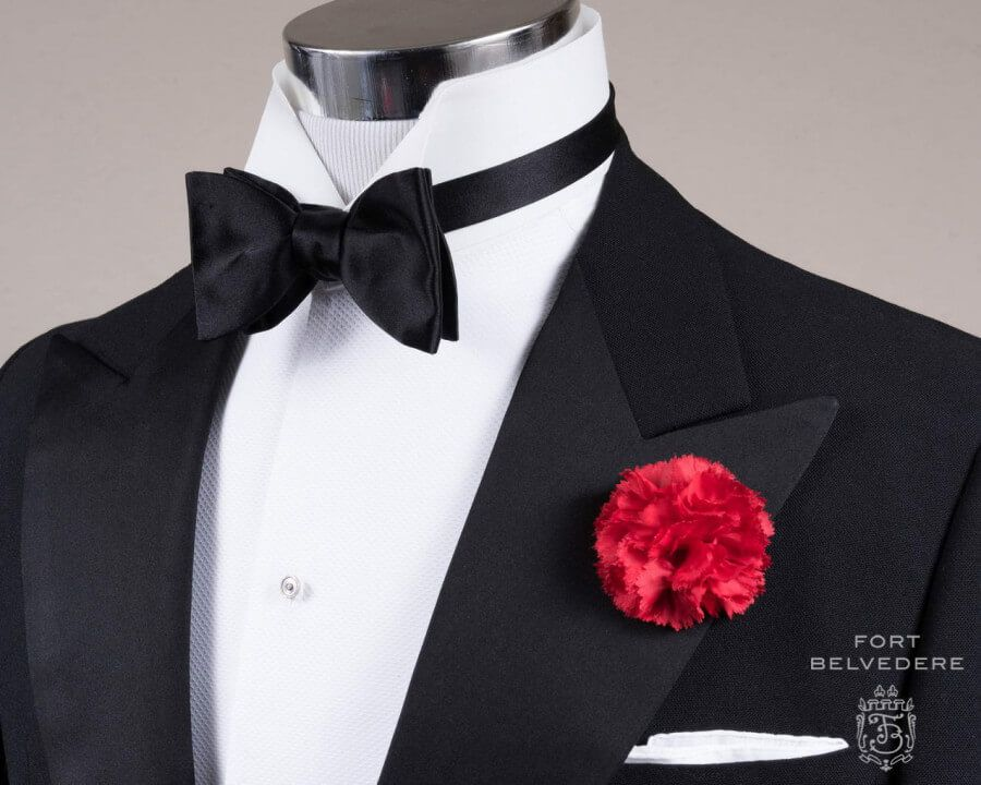 a39b843c287 Black Bow Tie in Silk Satin Sized Butterfly Self Tie with Red Carnation  Boutonniere and Classic White Irish Linen Pocket Square - Fort Belvedere