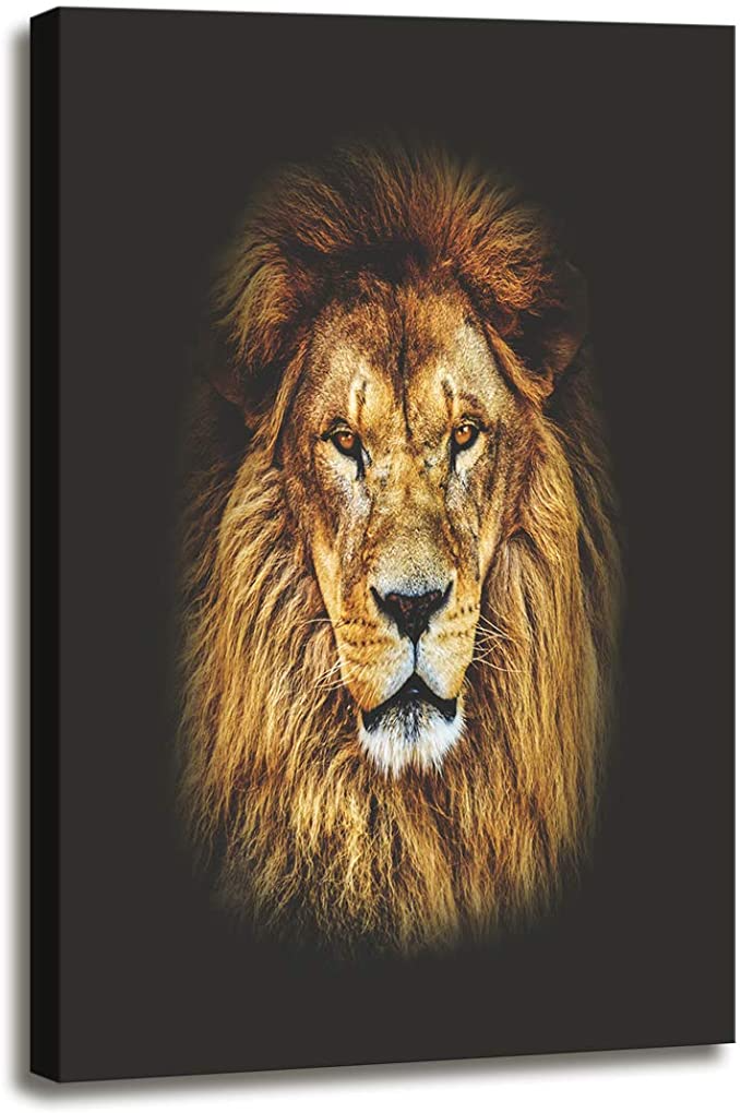 Amazon Com Dzl Art D72134 Canvas Wall Art Mighty Lion Animal Painting Prints On Canvas Framed Ready To Hang For In 2020 Lion Wall Art Painting Prints Animal Paintings