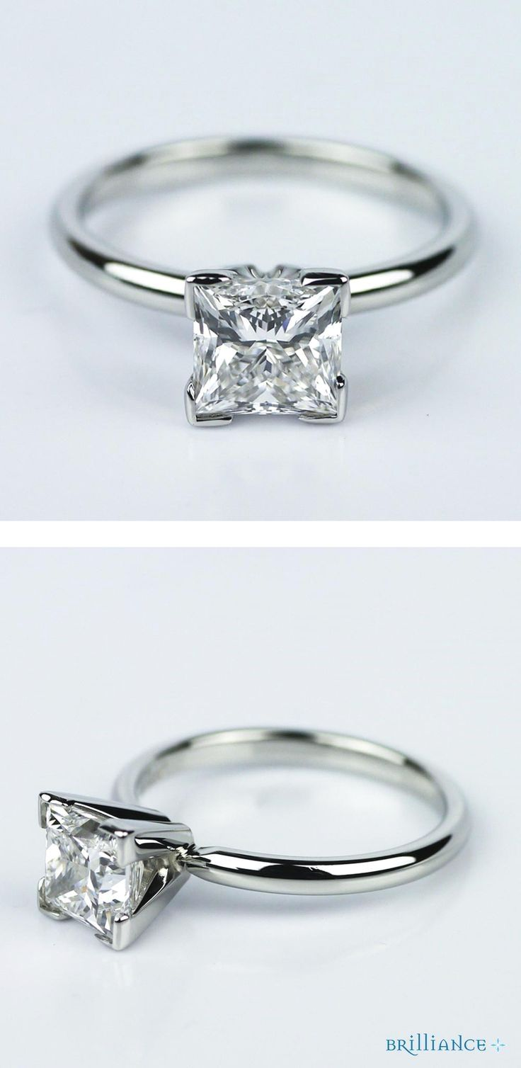 This princess cut diamond engagement ring with solitaire setting in