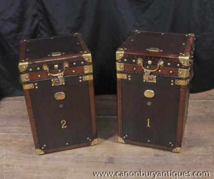 Delightful Pair Luggage Trunk Side Tables Case Leather Box Coffee Table