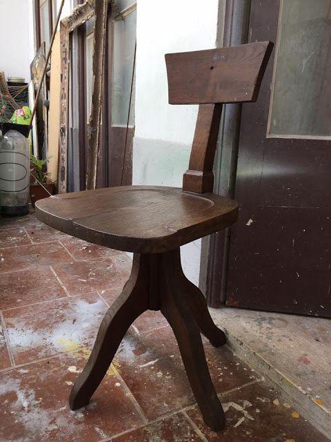 cadeira, rotativa, madeira, vintage, escritório