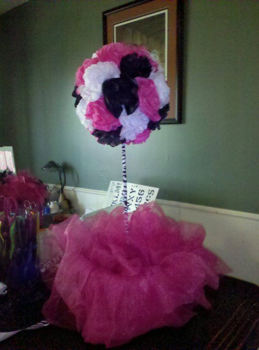 purple divas party made tissue paper topiaries as centerpieces for