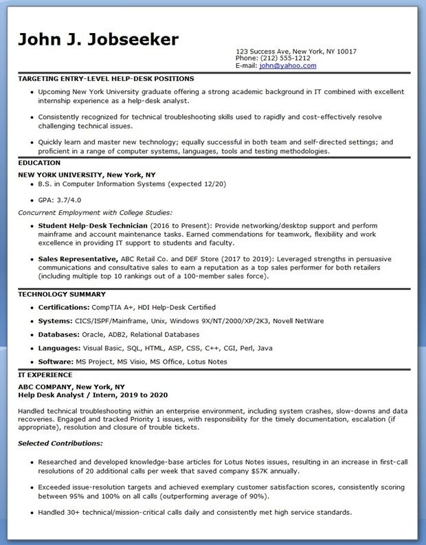 IT Employee Resume Format Creative Resume Design Templates Word - help desk resume sample