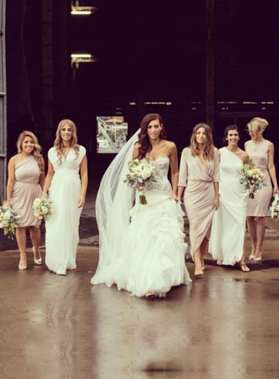 Beautiful beige bridesmaid dresses