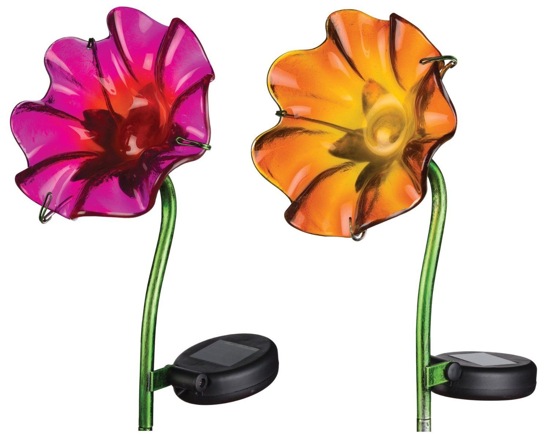 Regal Art U0026 Gift Mini Solar Poppy Stake   Fuchsia U0026 Orange Set   For Garden