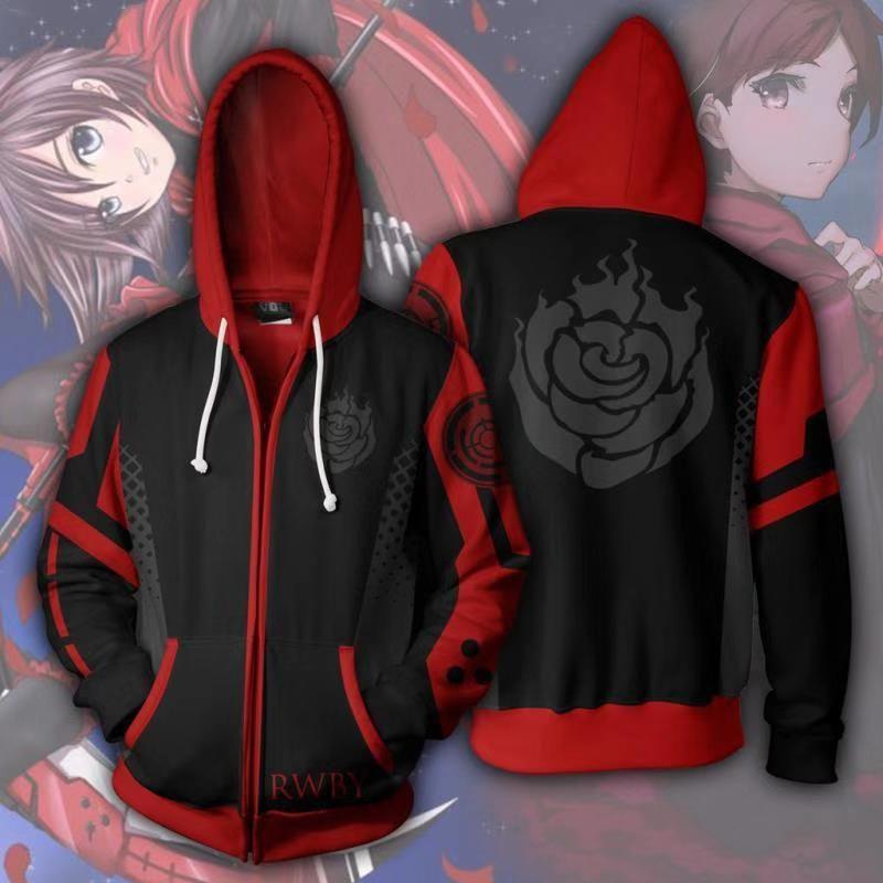 RWBY Anime 3D Printing Hoodie Sweatshirt Coat Zip Up Jacket Cosplay Costume