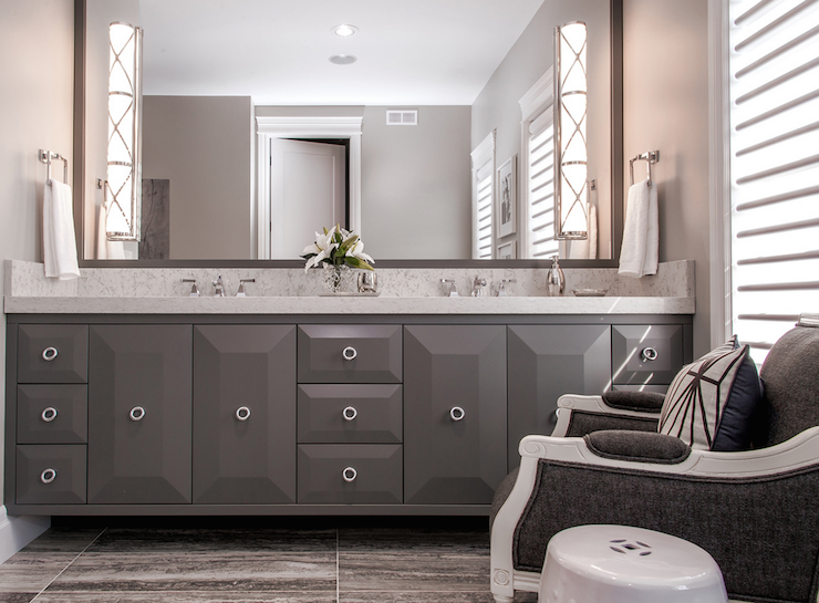 Contemporary Gray Bathroom With Dark Gray Double Vanity And Quartz  Countertops.