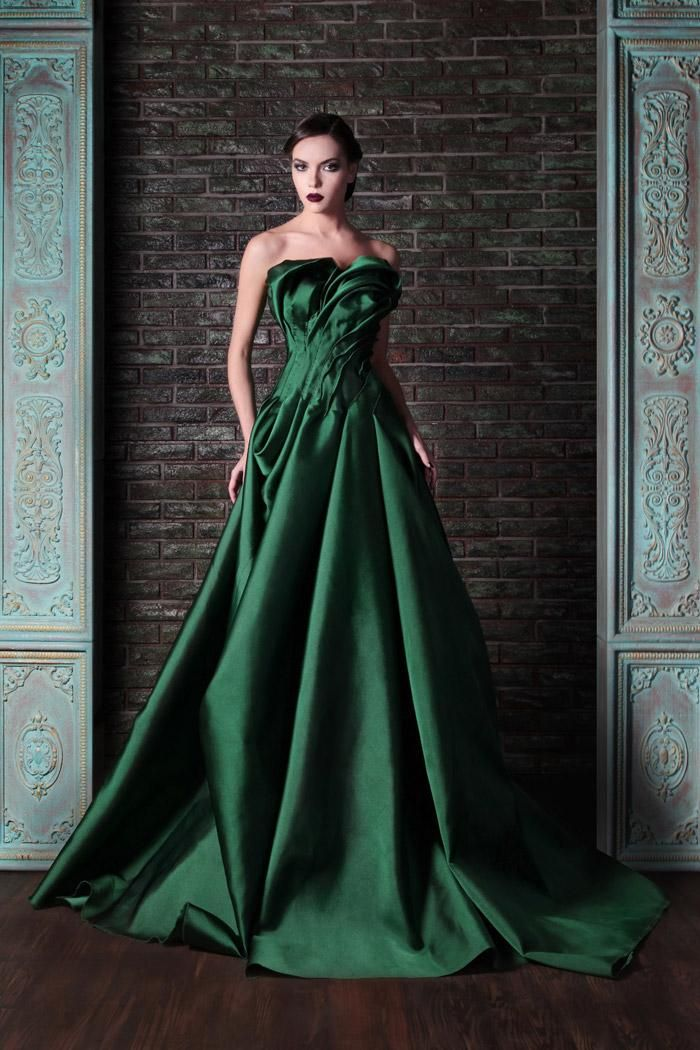 Evening Dress Designer Rami Kadi Dark Green Satin Ball Gown Strapless Floor  Length Pleat Puffy Long Evening Dresses Custom Plus Size 2015 New Evening  ... ea8e517ff
