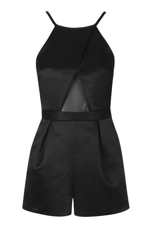 Satin Mesh Playsuit @Topshop.com