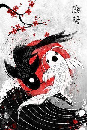 Póster ''Pescado Koi - Yin Yang' de Ruby-Art