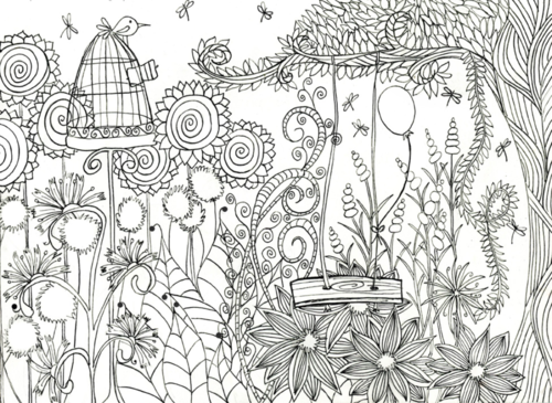 Magical Flower Garden Coloring Page Favecrafts Com Garden Coloring Pages Coloring Pages Cute Coloring Pages