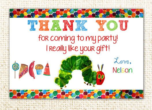 Very Hungry Caterpillar Birthday Party Thank You Card Printable