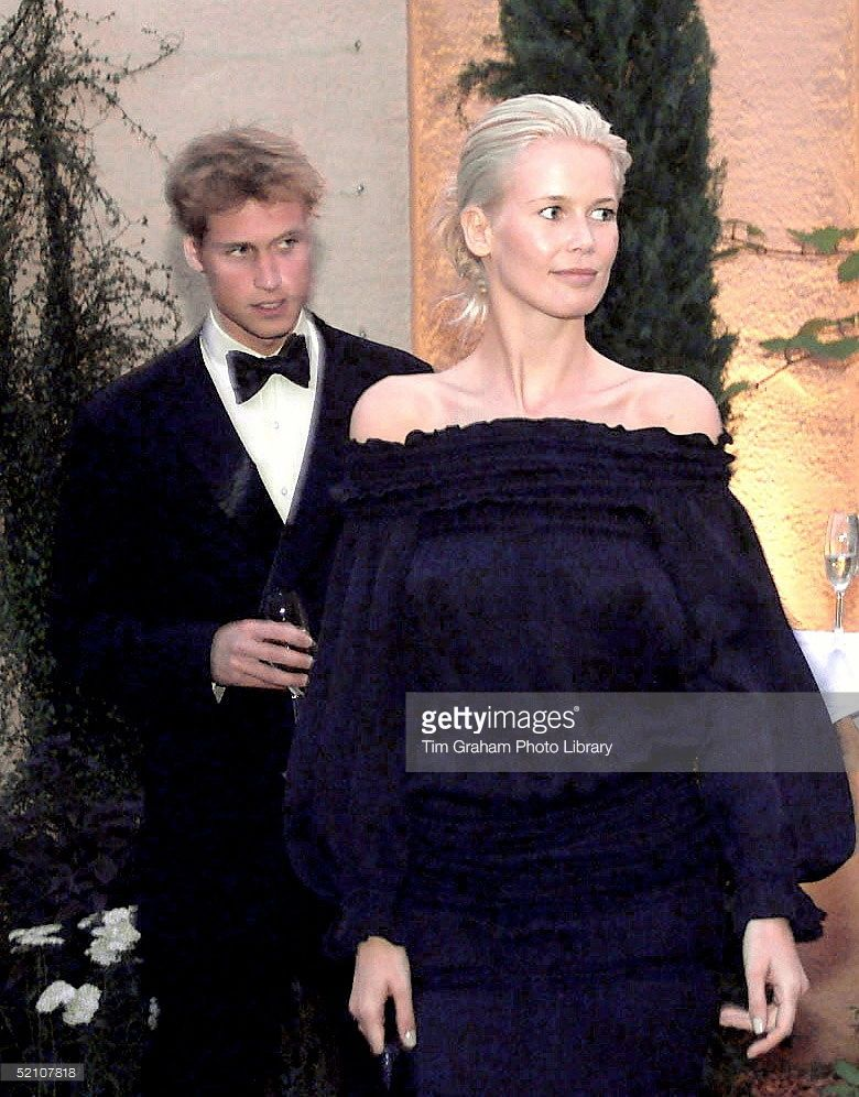 Prince William With Model Claudia Schiffer Attending A Party At Highgrove In Gloucestershire. The Prince Was Taking His Father's Place As Due To A Polo Accident He Was Unable To Be Host For The Party Which Was To Open A New Islamic Style Feature In The Highgrove Garden.