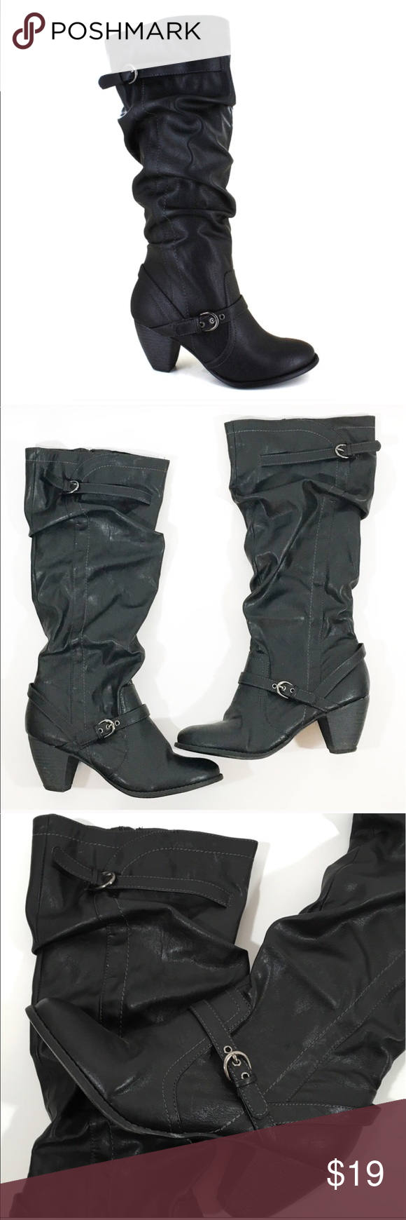 """❤ Black Slouchy Heeled Boots Black Heeled Boots are in excellent pre-loved condition. They have a slouchy look with silver buckles. 16.5"""" circumference at top of boot shaft.  Shaft is 15"""" tall. Size 9 medium width.  All man made materials soft fabric lining with a cushioned insole inside zipper for an easy on and off buckle and strap detailing 3-inch heel   🔺Questions? Please ask.  🔺I want your Poshmark experience to be easy & enjoyable. 🔺Thank you for shopping at Posh Mishmosh. jellypop…"""