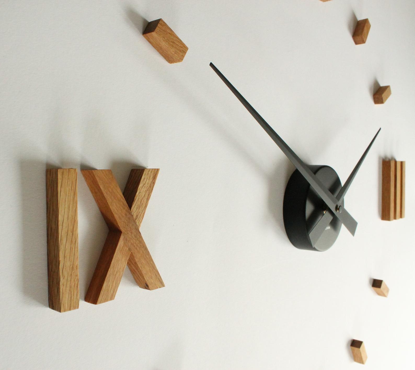 Kasper O Clock Large Wall Clock Made Of Oak Wood Große Wanduhren Wanduhr Wanduhr Holz