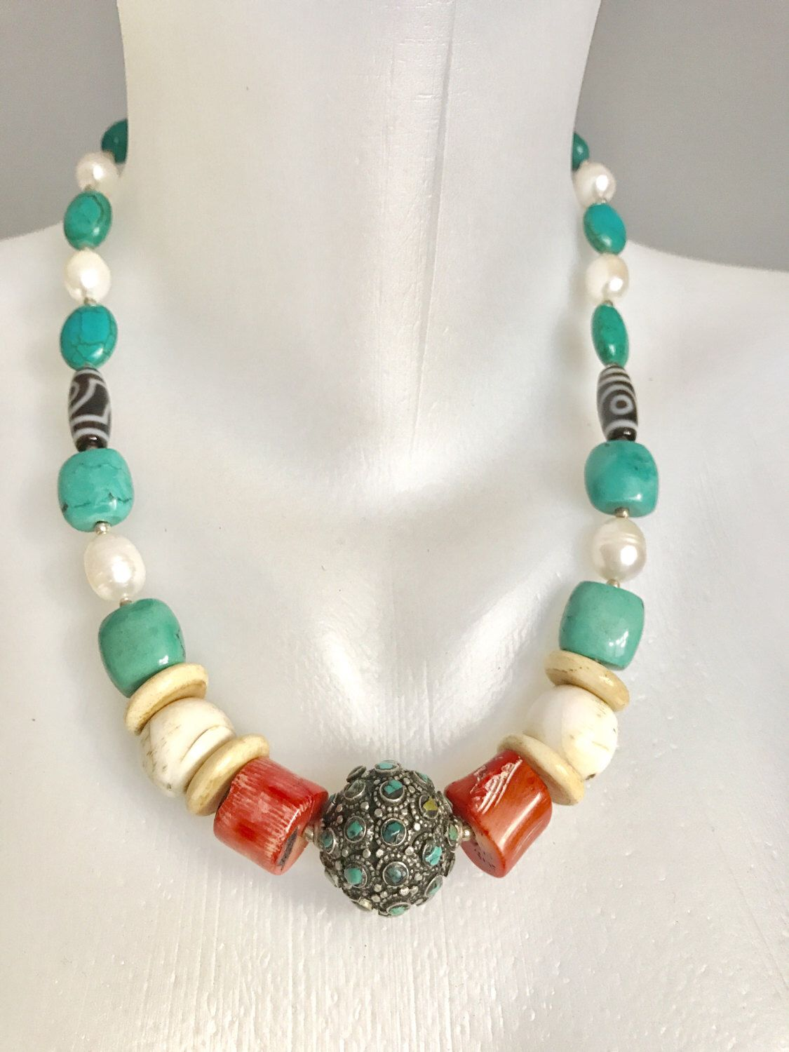 Tibetan Necklace Turquoise Necklace Chunky Necklace Etsy Chunky Bead Necklaces Beaded Necklace Chunky Turquoise Necklace
